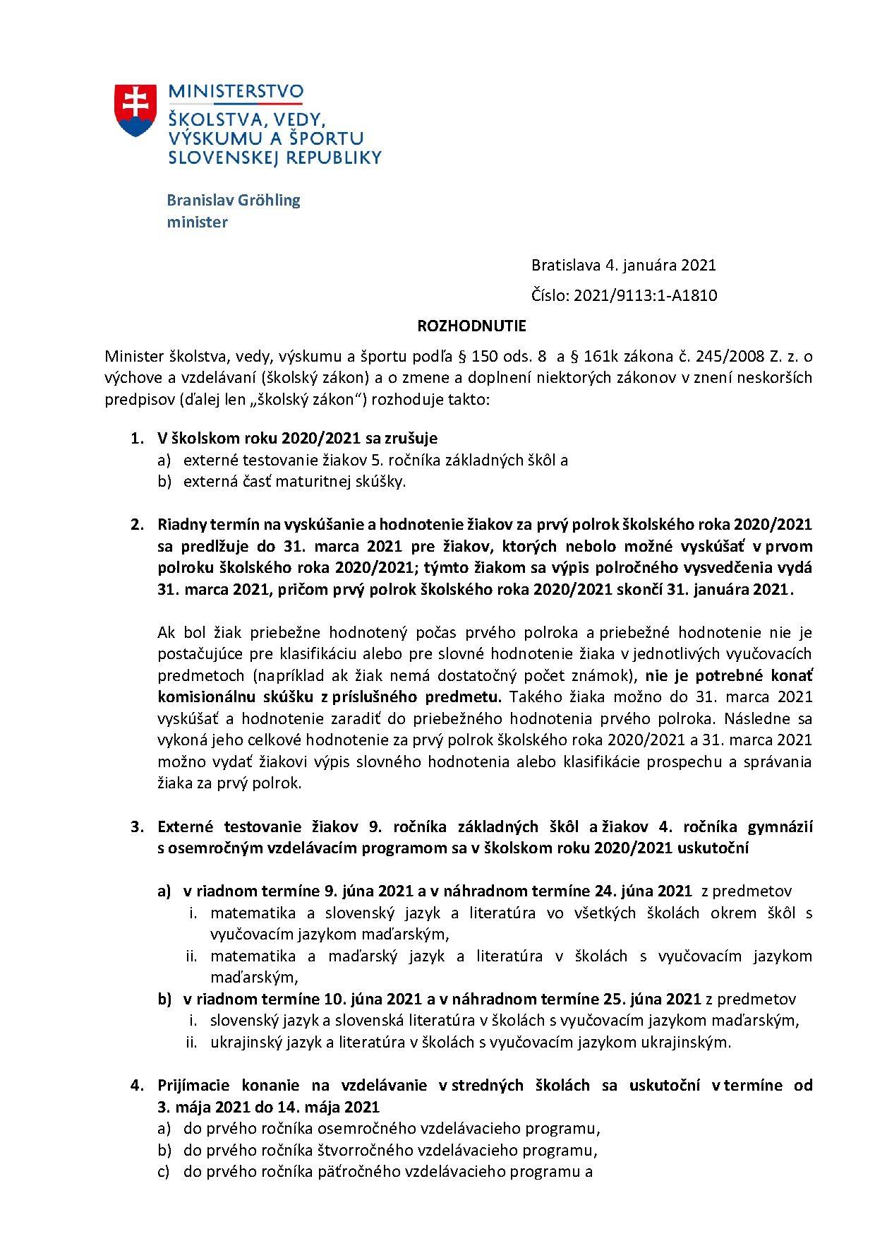 Rozhodnutie ministra 4.1. 2021